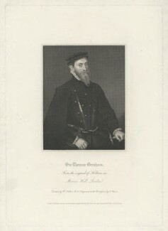 Sir Thomas Gresham, by Charles Picart, published by  Lackington, Hughes, Harding, Mavor & Jones, published by  Longman, Hurst, Rees, Orme & Brown, after  William Hilton - NPG D34938