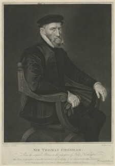 Sir Thomas Gresham, by Robert Thew, published by  Thomas Cox, published by  John Harris, after  Anthonis Mor (Antonio Moro) - NPG D34939