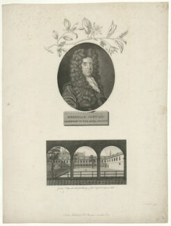 Nehemiah Grew with 'Gresham College, where the first Meetings of the Royal Society were held', probably by James Newton, published by  Robert John Thornton, after  Robert White - NPG D34946
