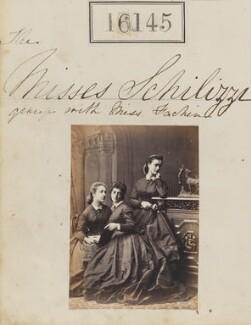 Marietta Fachiri; Hypatia Schilizzi (née Schilizzi); Zennou ('Jenny') Mavrogordato (née Schilizzi), by Camille Silvy - NPG Ax64064
