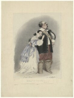 Giulia Grisi as Elvira; Luigi Lablache as Sir Georgio in Bellini's 'I Puritani', by Richard James Lane, printed by  Graf & Soret, published by  John Mitchell, published by  Rittner & Goupil, after  Alfred Edward Chalon - NPG D34977