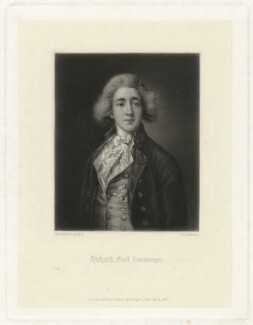 Robert Grosvenor, 1st Marquess of Westminster, incorrectly engraved as Richard, 1st Earl Grosvenor, by Thomas Lewis Atkinson, published by  Henry Graves & Co, after  Thomas Gainsborough - NPG D34990