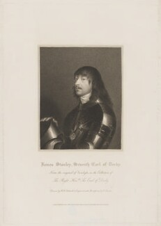 James Stanley, 7th Earl of Derby, by Edward Scriven, published by  Lackington, Allen & Co, and published by  Longman, Hurst, Rees, Orme & Brown, after  Robert William Satchwell, after  Sir Anthony van Dyck - NPG D35032