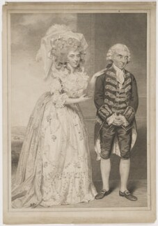 Elizabeth (née Farren), Countess of Derby; Thomas King as Lady Emily and Sir Clement in Burgoyne's 'The Heiress', by and published by John Jones, after  John Downman - NPG D35135