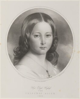 Princess Alice, Grand Duchess of Hesse, by Thomas Fairland, printed by  M & N Hanhart, after  Franz Xaver Winterhalter - NPG D35056