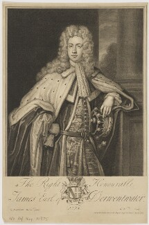James Radclyffe, 3rd Earl of Derwentwater, by George Vertue, published by  Thomas Bowles Sr, after  Sir Godfrey Kneller, Bt - NPG D35145