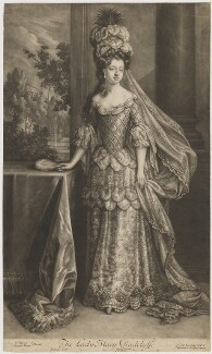 Mary Radcliffe (née Tudor), Countess of Derwentwater, by Bernard Lens (II), after  Jan van der Vaart, after  Willem Wissing, published by  Edward Cooper - NPG D35147