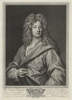 Charles Montagu, 1st Earl of Halifax, by Pierre Drevet, after  Sir Godfrey Kneller, Bt - NPG D35213