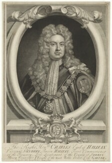 Charles Montagu, 1st Earl of Halifax, by George Vertue, after  Sir Godfrey Kneller, Bt - NPG D35214