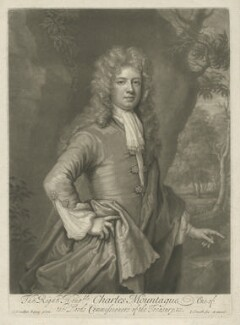Charles Montagu, 1st Earl of Halifax, by and published by John Smith, after  Sir Godfrey Kneller, Bt - NPG D35215