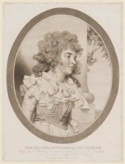 Georgiana Cavendish (née Spencer), Duchess of Devonshire, by Francesco Bartolozzi, published by  M. Lawson, after  John Downman - NPG D35166