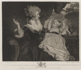 Georgiana Cavendish (née Spencer), Duchess of Devonshire; Georgiana Dorothy (née Cavendish), Countess of Carlisle, by and published by George Keating, sold by  William Austin, after  Sir Joshua Reynolds - NPG D35167