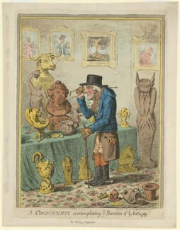 A Cognocenti contemplating ye Beauties of ye Antique (Emma Hamilton; Horatio Nelson; Sir William Hamilton), by James Gillray, published by  Hannah Humphrey - NPG D35272