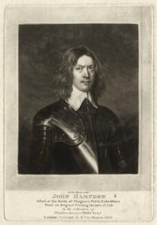 John Hampden, by Charles Turner, published by  Samuel Woodburn - NPG D35295