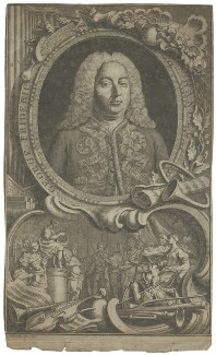 George Frideric Handel, by Jacobus Houbraken, by  Hubert-François Gravelot (né Bourguignon) - NPG D35303