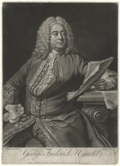 George Frideric Handel, by and sold by John Faber Jr, after  Thomas Hudson, published 1749 - NPG D35304 - © National Portrait Gallery, London