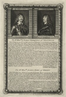 James Graham, 1st Marquess of Montrose; James Stanley, 7th Earl of Derby, by George Vertue, published by  John Ryall, published by  Robert Withy, after  William Dobson, and after  Sir Anthony van Dyck - NPG D35473