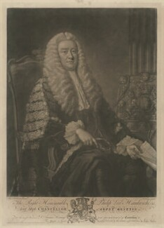Philip Yorke, 1st Earl of Hardwicke, by John Faber Jr, published by  Thomas Bowles Jr, published by  John Bowles, published by  Carington Bowles, after  Thomas Hudson - NPG D35415