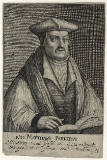 Matthew Parker, by Magdalena de Passe, and by  Willem de Passe - NPG D35488