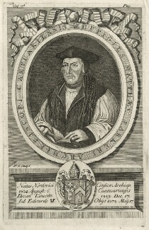 Matthew Parker, by Philip Simms, after  Robert White, possibly after  Richard Lyne - NPG D35497