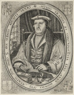 Matthew Parker, by Samuel Woodburn, after  Remigius Hogenberg, possibly after  Richard Lyne - NPG D35500