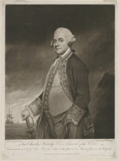 Sir Charles Hardy, by William Dickinson, published by  Dickinson & Watson, after  George Romney - NPG D35427