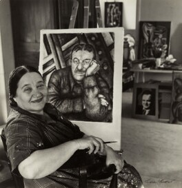Nadia Khodossevitch-Léger with her portrait of Fernand Léger., by Ida Kar - NPG x132777