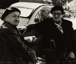 Jean Philippe Arthur Dubuffet with two unknown women, by Ida Kar - NPG x132779