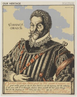 Sir Francis Drake, by Robert Sargent Austin, printed by  The Baynard Press, probably after  Jodocus Hondius - NPG D35387