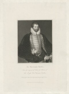 Sir Christopher Hatton, by Edward Scriven, published by  Harding, Mavor & Lepard, after  William Hilton, after  Cornelis Ketel - NPG D35578