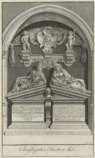 Monument to Sir Christopher Hatton and Alice Hatton (née Fanshawe) in Westminster Abbey, by James Cole, after  Unknown sculptor - NPG D35579