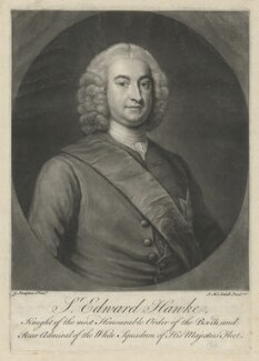 Edward Hawke, 1st Baron Hawke, by James Macardell, after  George Knapton - NPG D35608