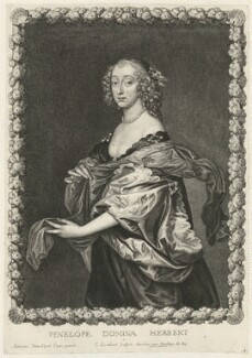 Penelope (née Naunton), Lady Herbert, by Pierre Lombart, after  Sir Anthony van Dyck - NPG D35702