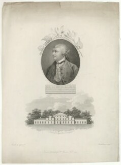 Sir John Hill with 'A View of the Royal Palace in Kew Gardens', by Giovanni Vendramini, published by  Robert John Thornton, after  Francis Cotes - NPG D35831