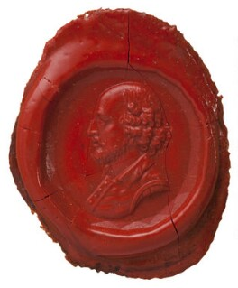 Three wax impressions taken from David Garrick's seal (his arms, his monogram and a portrait of William Shakespeare), after Unknown artist - NPG D36103