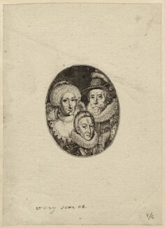 Anne of Denmark; King Charles I when Prince of Wales; King James I of England and VI of Scotland, by Simon de Passe, after 1612 - NPG D27683 - © National Portrait Gallery, London