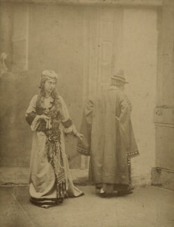 Eveleen Myers (née Tennant) as Jessica with Shylock in 'The Merchant of Venice', by Unknown photographer - NPG Ax132833