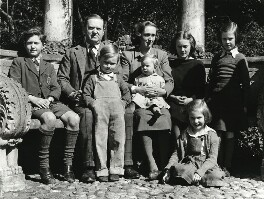 Evelyn Waugh with his family, by Jane Bown - NPG x28638