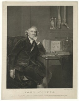John Hunter, by and published by William Sharp, published by  Benjamin Beale Evans, published by  William Skelton, after  Sir Joshua Reynolds - NPG D36394
