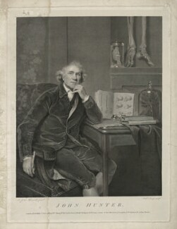 John Hunter, by and published by William Sharp, published by  Benjamin Beale Evans, published by  William Skelton, after  Sir Joshua Reynolds - NPG D36395