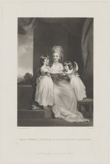 Mary Theresa, Countess of Ilchester and daughters, by George H. Every, published by  Henry Graves & Co, after  Sir Joshua Reynolds - NPG D36437