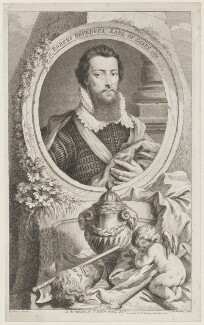 Robert Devereux, 2nd Earl of Essex, by Jacobus Houbraken, published by  John & Paul Knapton, after  Isaac Oliver - NPG D36563