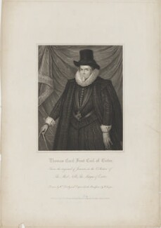 Thomas Cecil, 1st Earl of Exeter, by Robert Cooper, published by  Harding, Triphook & Lepard, after  William Derby, after  Cornelius Johnson (Cornelius Janssen van Ceulen) - NPG D36618