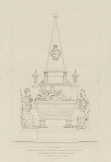 Monument to John Cecil, 5th Earl of Exeter and Anne Cecil (née Cavendish), Countess of Exeter, by W.S. Wilkinson, published by  William Pickering, after  Pierre Étienne Monnot, published 1842 (1703 or after) - NPG D36621 - © National Portrait Gallery, London