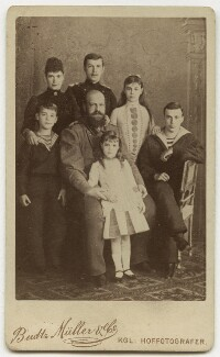 Alexander III, Emperor of Russia with his wife and children, by Budtz Müller & Co, late 1880s - NPG x131633 - © National Portrait Gallery, London