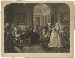 'Dr Johnson awaiting an audience of Lord Chesterfield' (Samuel Johnson and 14 unknown figures), by Lumb Stocks, published by  Art Union of London, after  Edward Matthew Ward - NPG D36541
