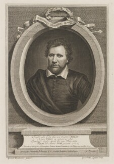 Benjamin ('Ben') Jonson, by George Vertue, after  Gerrit van Honthorst, after  Abraham van Blyenberch - NPG D36738