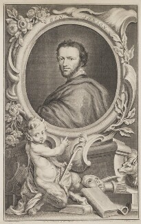 Called Benjamin ('Ben') Jonson, by Jacobus Houbraken, published by  John & Paul Knapton, after  Isaac Oliver - NPG D36739