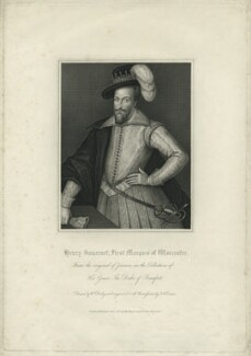 Henry Somerset, 1st Marquess of Worcester, by Thomas Anthony Dean, published by  Harding & Lepard, after  William Derby, after  Cornelius Johnson (Cornelius Janssen van Ceulen) - NPG D36295