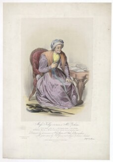 Frances ('Fanny') Maria Kelly as Mrs Parthian, by Francis William Wilkin, printed by  Graf & Soret, published by  Ackermann & Co - NPG D36776